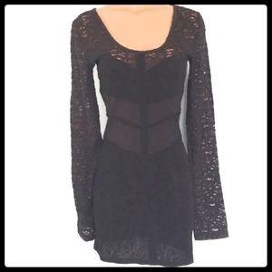 Free People Black Lace Long Sleeve Dress M